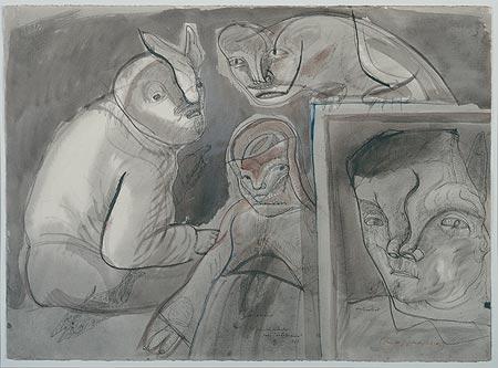 Autorretrato, página de estudio para intolerancia - José Luis Cuevas