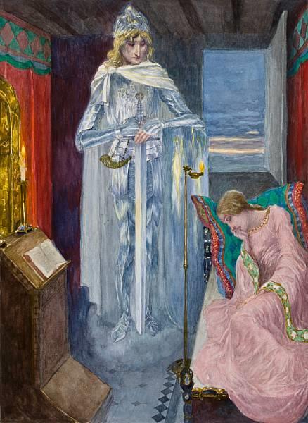Elsa (act III), Scene from Lohengrin, c.1919 - Heinrich Lefler