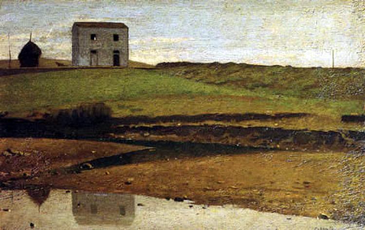 House at the River, 1863 - Giuseppe Abbati