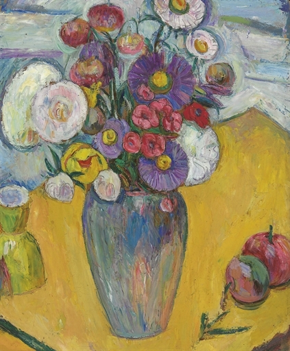 Flowers on a Yellow Table - Abraham Manievich