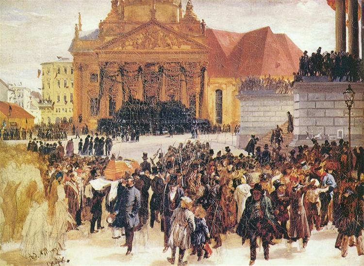 Aufbahrung der Märzgefallenen, 1848 - Adolph Menzel