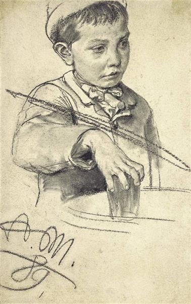 Junge mit Wasserglas, 1889 - Adolph Menzel