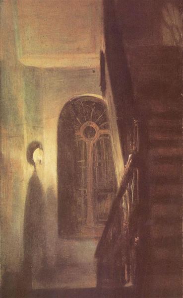 Treppenflur bei Nachtbeleuchtung, 1848 - Адольф фон Менцель