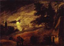 Dune Landscape by Moonlight - Adriaen Brouwer