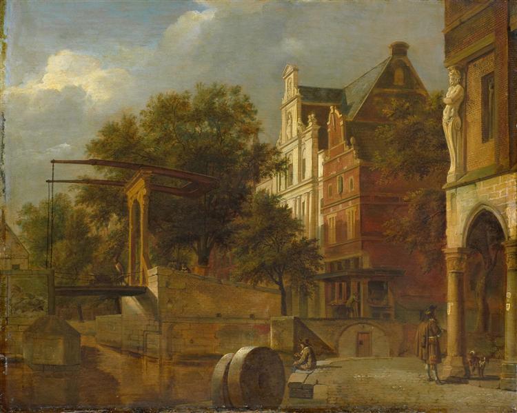 Cityscape with Drawbridge, 1660 - 1672 - Adriaen van de Velde