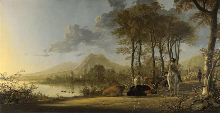 River Landscape with Horseman and Peasants, c.1658 - 1660 - Альберт Кёйп