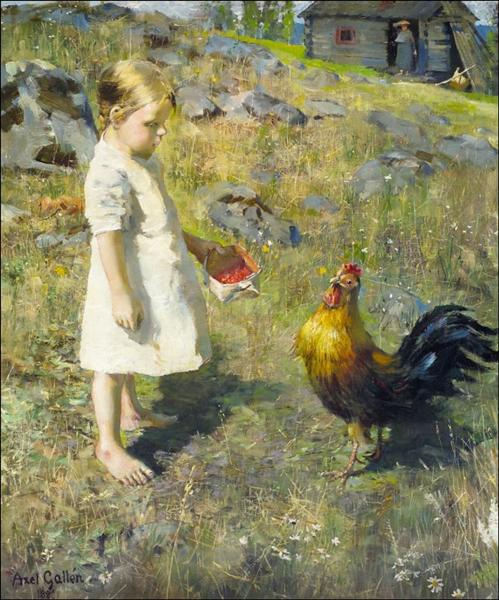 The girl and the rooster, 1886 - Akseli Gallen-Kallela
