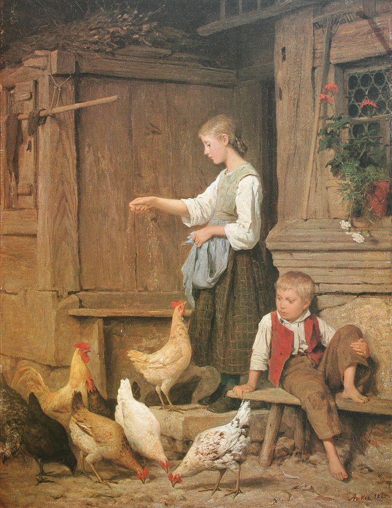 Jeune fille nourrissant les poules, 1865
