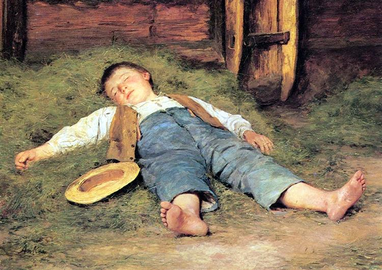 Schlafender Knabe im Heu, 1897 - Albert Anker