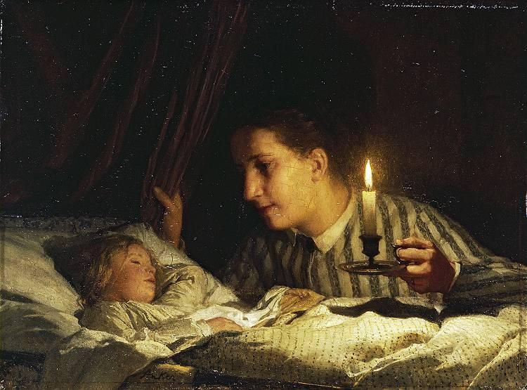 Young mother contemplating her sleeping child in candlelight - Albert Anker