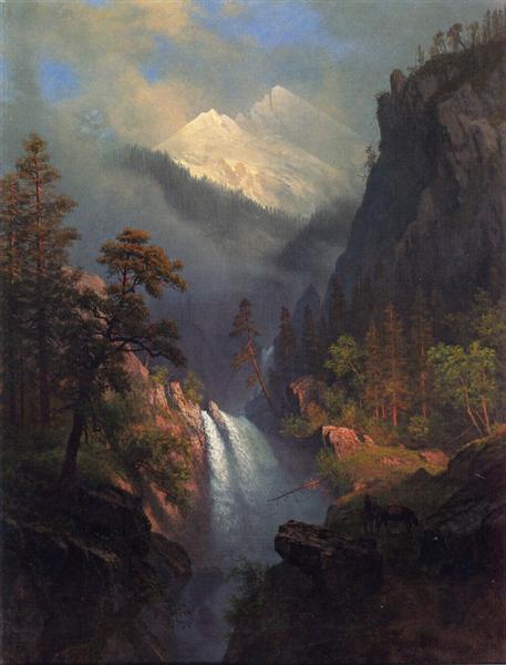 Cascading Falls at Sunset, c.1879 - Albert Bierstadt