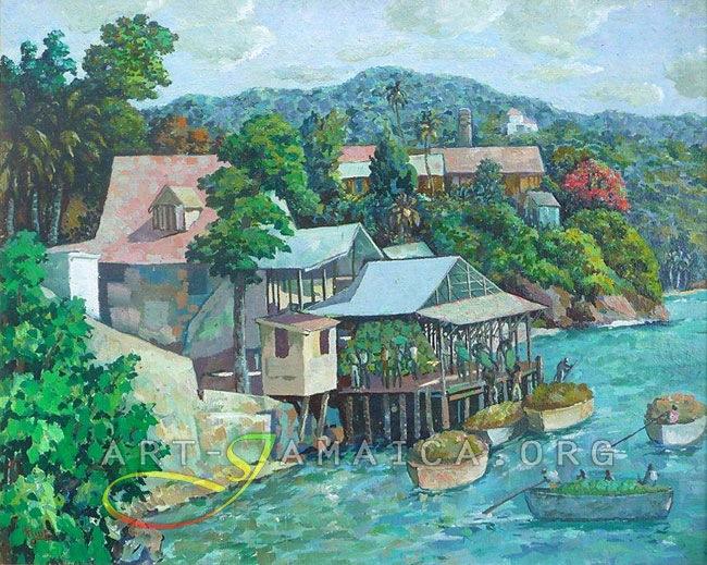 Houses On Stilts With Fishermen - Albert Huie