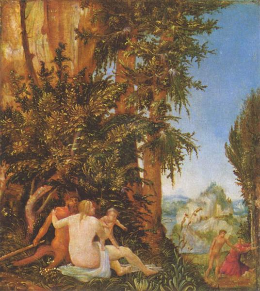 Пейзаж с семьёй сатира, 1507 - Альбрехт Альтдорфер