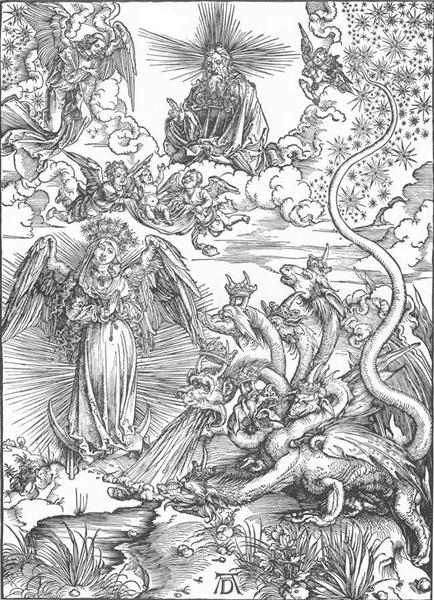 The woman clothed with the sun and the seven headed dragon - Albrecht Durer