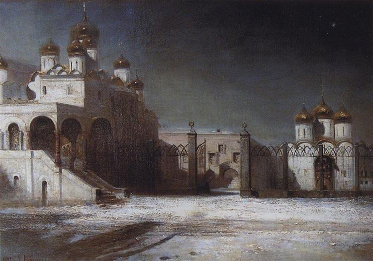 Cathedral Square in the Moscow Kremlin at night, 1878 - Alexei Kondratjewitsch Sawrassow