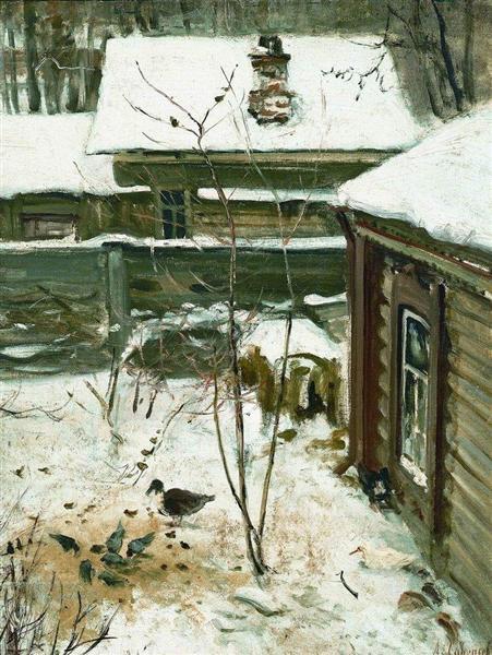 Courtyard.Winter., c.1870 - Aleksey Savrasov