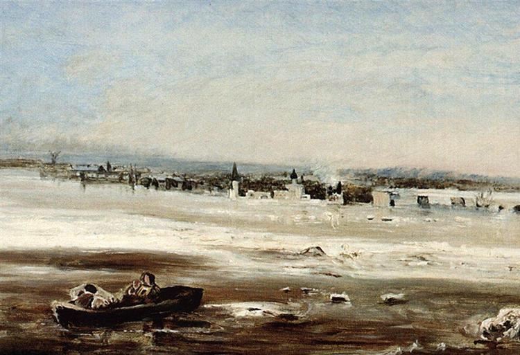 Drifting ice on the Volga - Aleksey Savrasov
