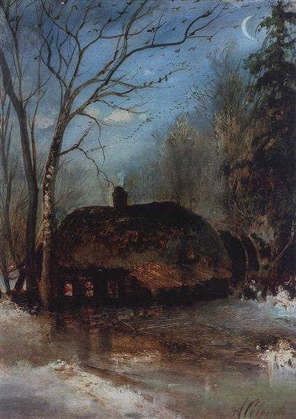 Spring landscape with cottage, 1890 - Aleksey Savrasov