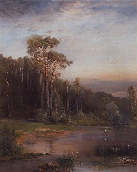 Summer landscape with pine trees near the river, 1878 - Alexei Kondratjewitsch Sawrassow