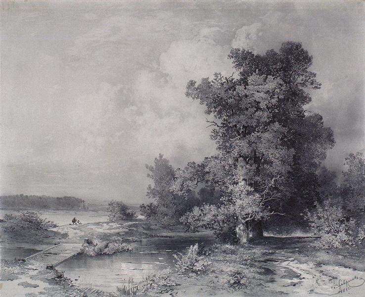 Type in a village near Moscow Kuntsevo, 1855 - Aleksey Savrasov