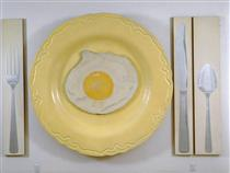 Egg on Plate with Knife, Fork, and Spoon - Alex Hay