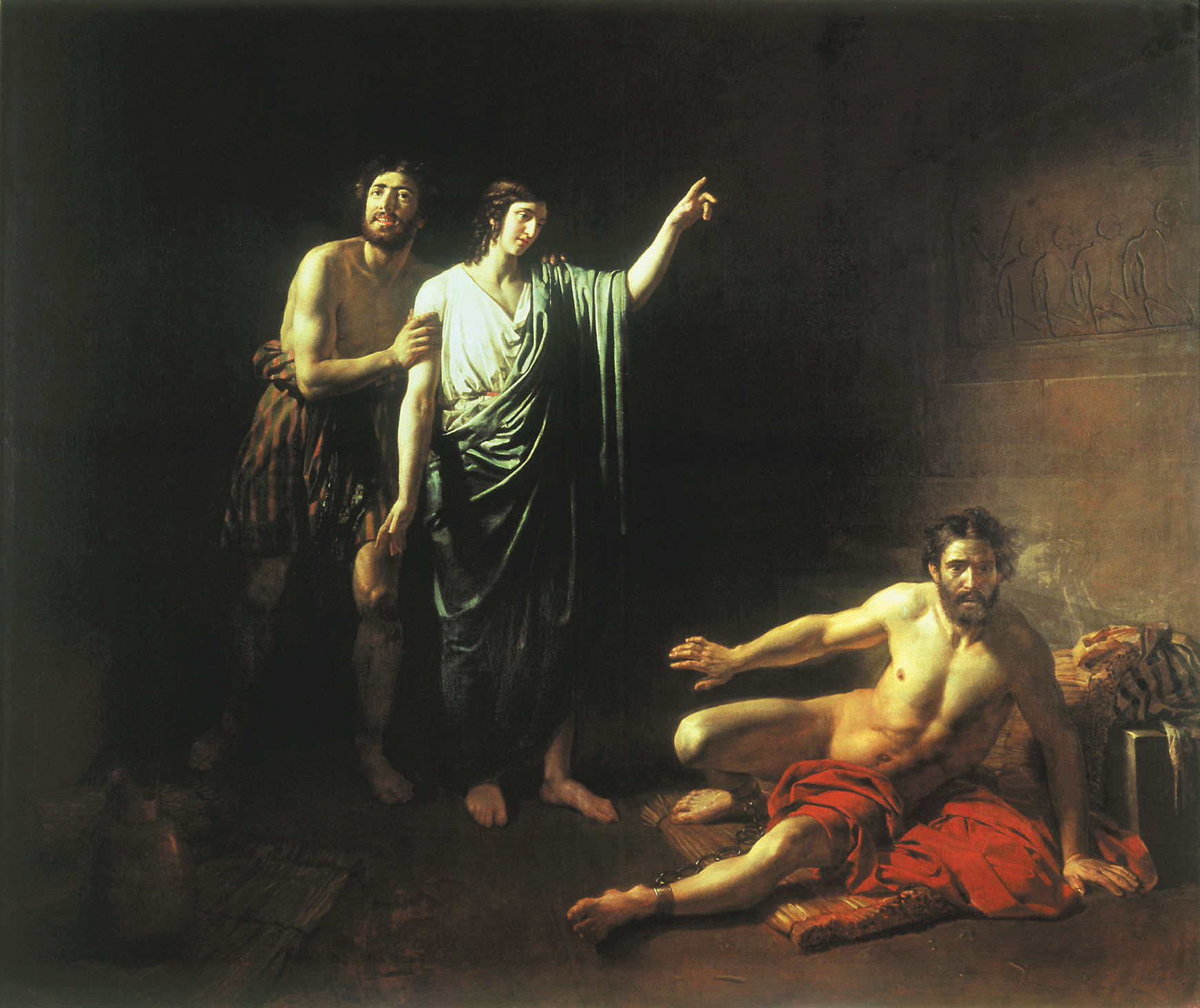 Joseph interpreting dreams to butler and baker, concluded with him in prison, 1827