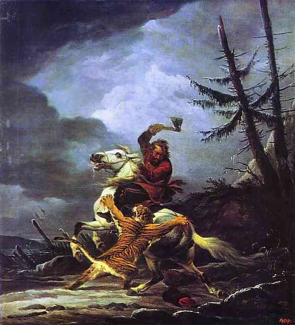 Cossack Fighting off a Tiger, 1811