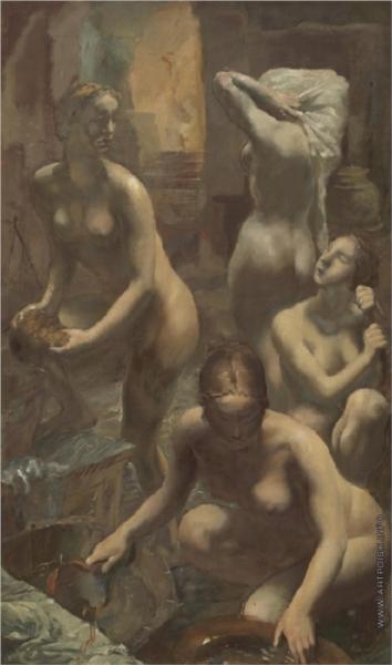At the bath-house, 1929 - Alexandre Jacovleff