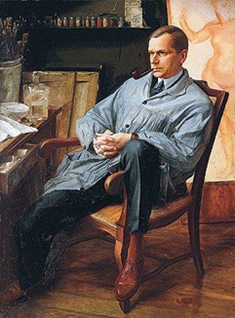 Portrait of Vasily Shuhaeva in his Studio, 1928