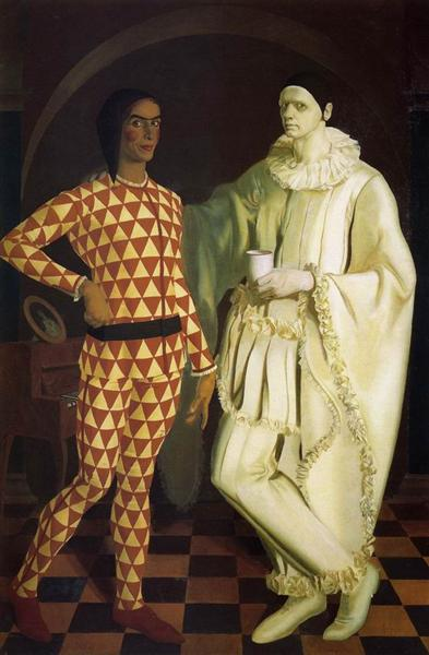 Self-Portraits (Harlequin and Pierrot) - with Vasiliy Shukhaev - Jacovleff Alexandre