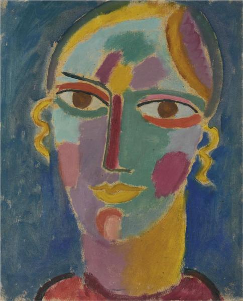 Mystischer Kopf: Frauenkopf auf blauem Grund, 1917 - Alexej von Jawlensky