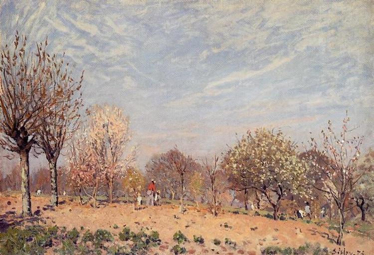 Apple Trees in Flower, Spring Morning (Pommiers en Fleurs Louveciennes), 1873 - Alfred Sisley