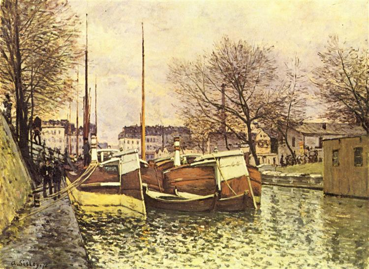 Barges on the Canal Saint Martin in Paris, 1870 - Alfred Sisley