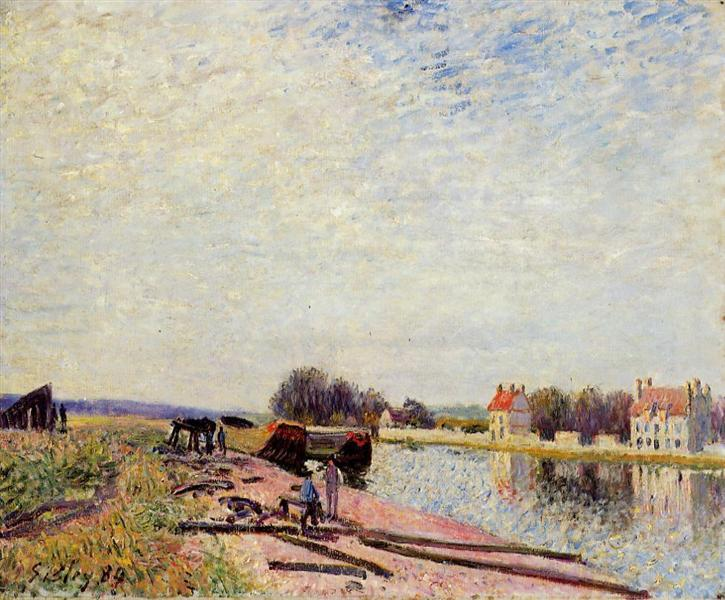 Barges on the Loing, Saint Mammes, 1884 - Alfred Sisley