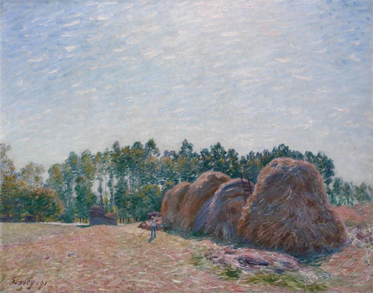 Haystacks at Moret Morning Light, 1890 - Alfred Sisley