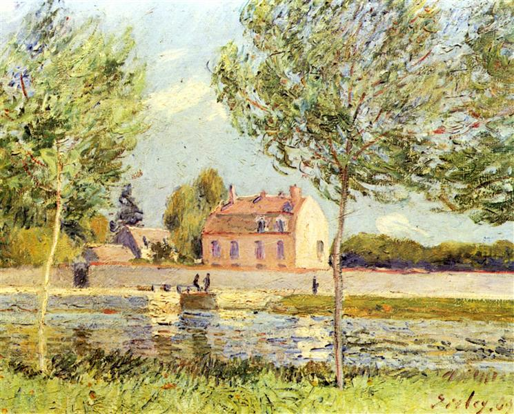 Houses on the banks of the Loing, 1889 - Alfred Sisley