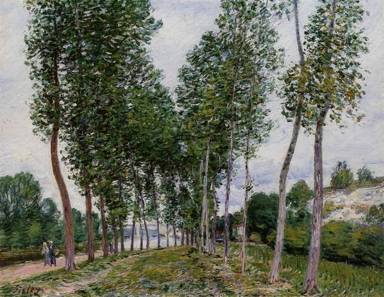 Lane of Poplars on the Banks of the Loing, 1892 - Alfred Sisley
