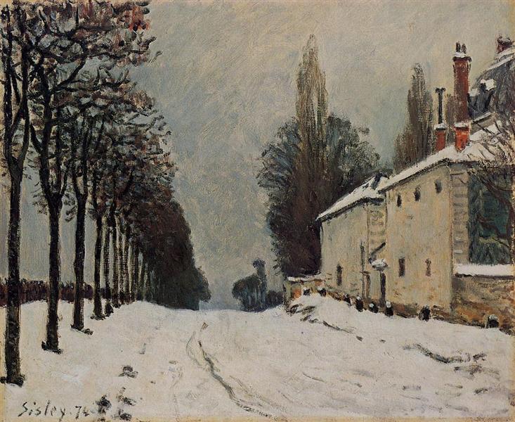 Snow on the Road, Louveciennes (Chemin de la Machine), 1874 - Alfred Sisley