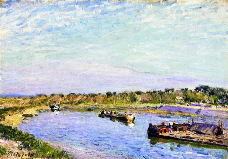 The Port of Saint Mammes, Morning, 1885 - Alfred Sisley