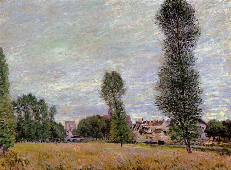 The Village of Moret, Seen from the Fields, 1886 - Alfred Sisley