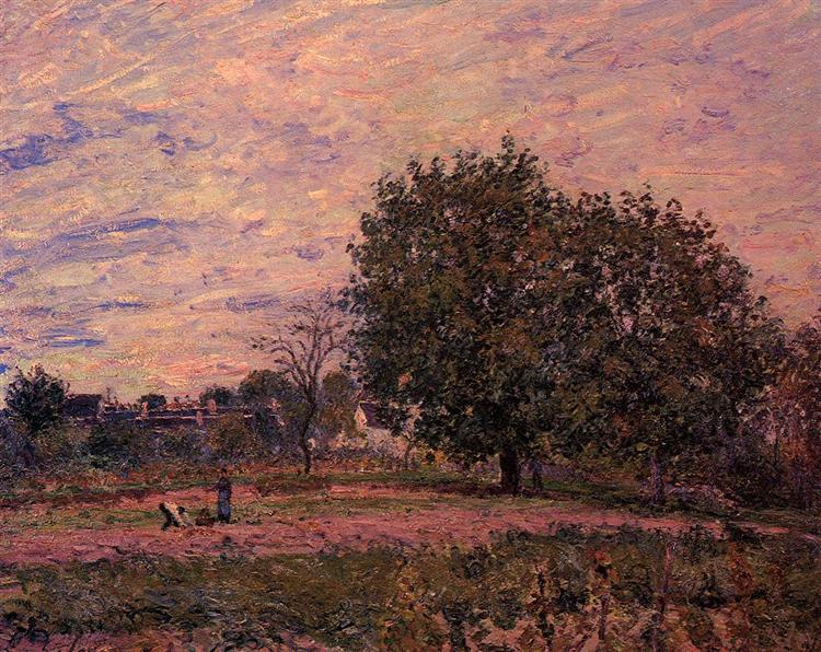 Walnut Trees, Sunset Early Days of October, 1882 - Alfred Sisley