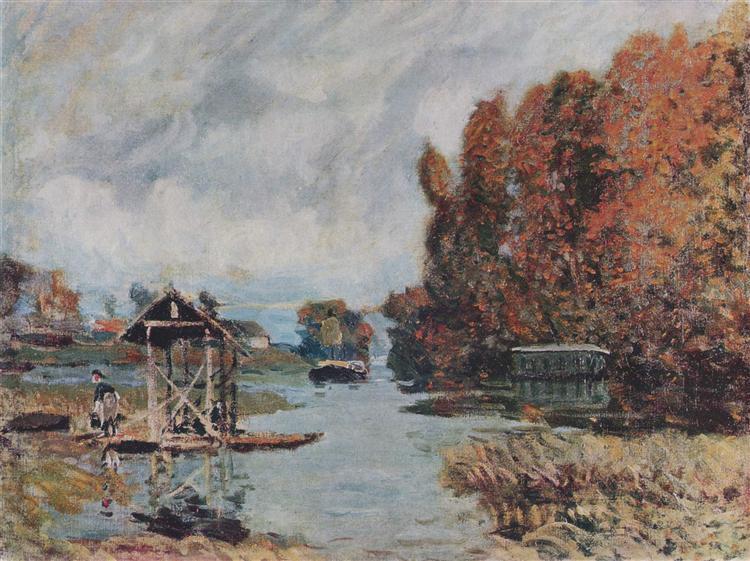 Washerwomen of Bougival, 1875 - Alfred Sisley