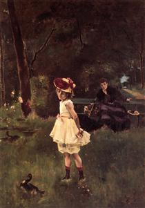 Girl with Duck - Alfred Stevens