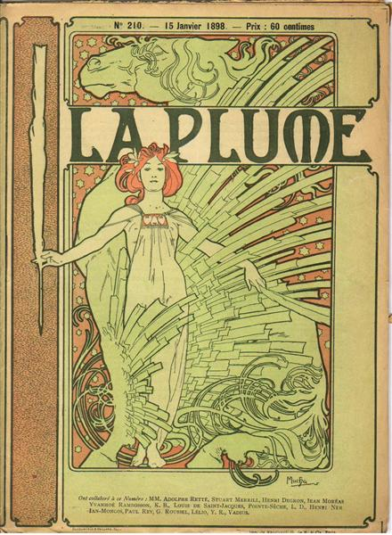 Cover composed by Mucha for the french literary and artistic Review La Plume, 1898 - 慕夏