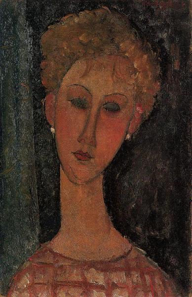 A Blond Wearing Earrings, c.1916 - Amedeo Modigliani