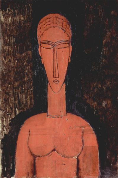 Красный бюст, 1913 - Амедео Модильяни