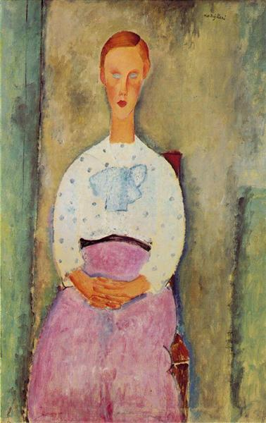 Girl with a polka-dot blouse, 1919 - Amedeo Modigliani