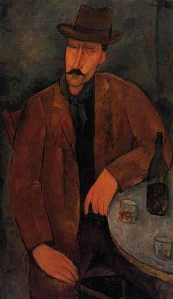 Man with a Glass of Wine, c.1918 - Amedeo Modigliani
