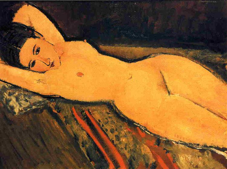 Reclining nude with Arms Folded under Her Head, 1916 - Amedeo Modigliani