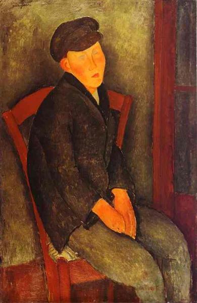 Seated Boy with Cap, 1918 - Amedeo Modigliani
